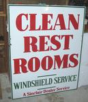 Sinclair rest room 30 x 37 Porcelain Original sign 2 pics shown